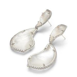 Kendra Scott NWT Teddi Rhodium Teardrop Earrings